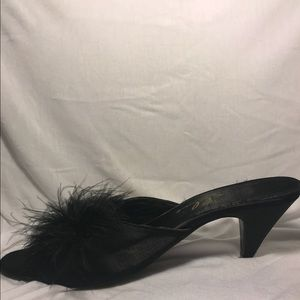 Carrie Bradshaw-like BLACK SATIN AND FEATHER heels